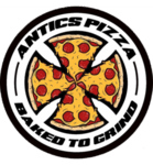 Antics Pizza and Games Logo